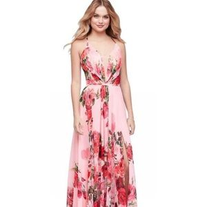 Plunging Sweetheart Floral Print Lace Up Gown